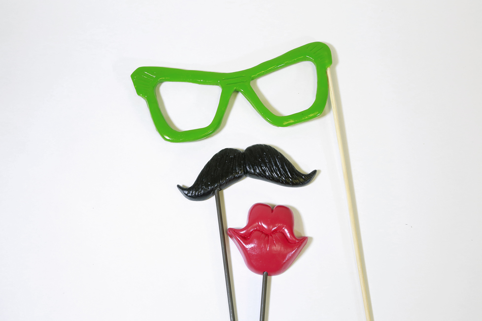 photo booth glasses, mustache and lips